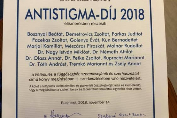 Antistigma-díjat kaptak a Nyírő Gyula OPAI addiktológiájának dolgozói